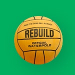Green graphic featuring an orange waterpolo ball.