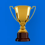 Blue graphic featuring a gold trophy.
